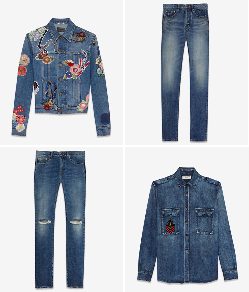 Left to right, top to bottom: Embroidery Jean Jacket, Vintage Blue Embroidered Low Wasted Slim Jean, Ripped Denim Jeans, Military Patch Denim Shirt