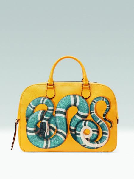 Gucci Snake Print Leather Duffle Bag