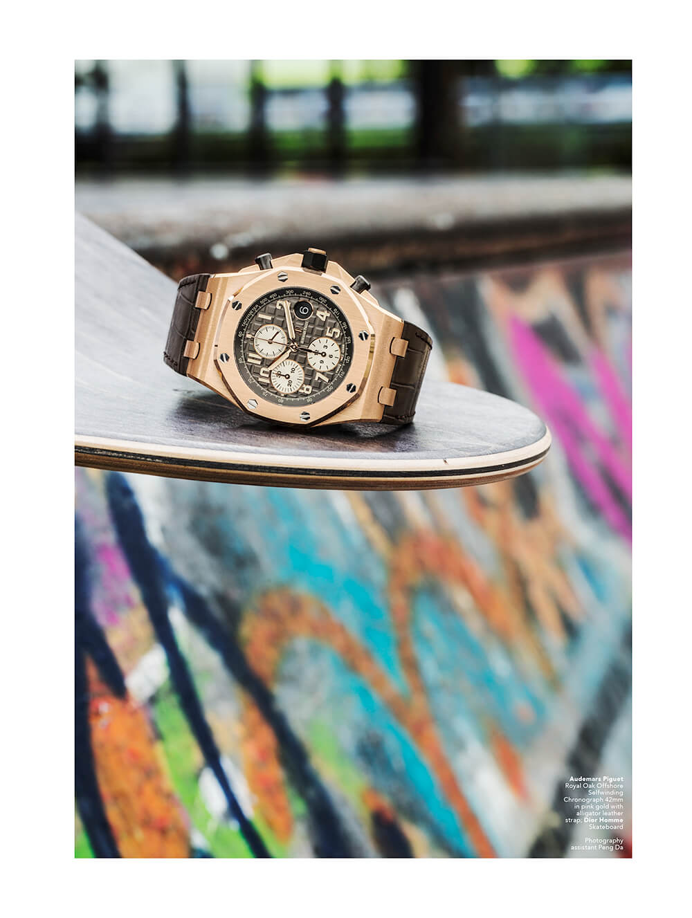 Audemars Piguet Royal Oak Offshore Selfwinding Chronograph 42mm in pink gold with alligator leather strap; Dior Homme Skateboard