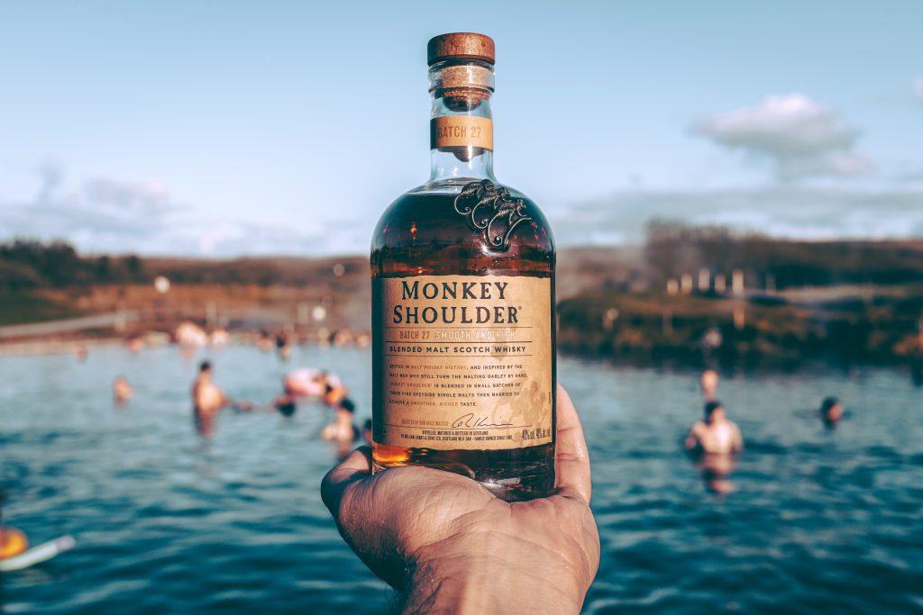 home bar bottles monkey shoulder
